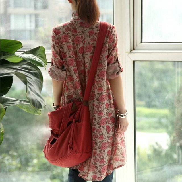 Red Flowers Cotton Tunic. via Etsy.