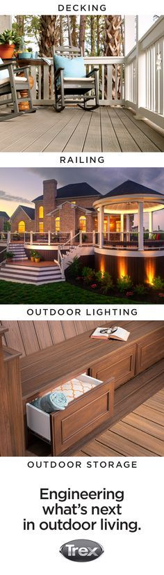 It's time to deck out your backyard. Check out Trex.com to find Trex decking, railing, lighting and outdoor cabinetry that can work together to customize your deck, patio or porch.