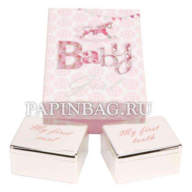 """Набор подарочный """"Коробочки для первого зубика и локона"""" для девочки Красивый, памятный подарок на рождение, Крещение, Годик и просто по случаю! http://papinbag.ru/?m=4910"""
