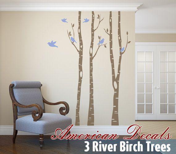 3 River Birch TREE SALE Wall Decal Forest Living Room 2 colors Birds Vinyl Sticker Nursery Tree