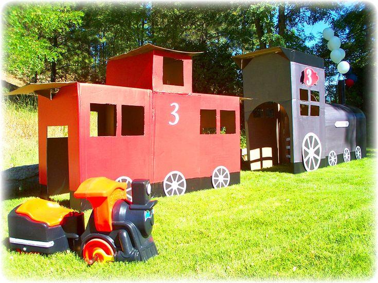 Jake's 3rd Birthday Party!!!  Giant cardboard train :)