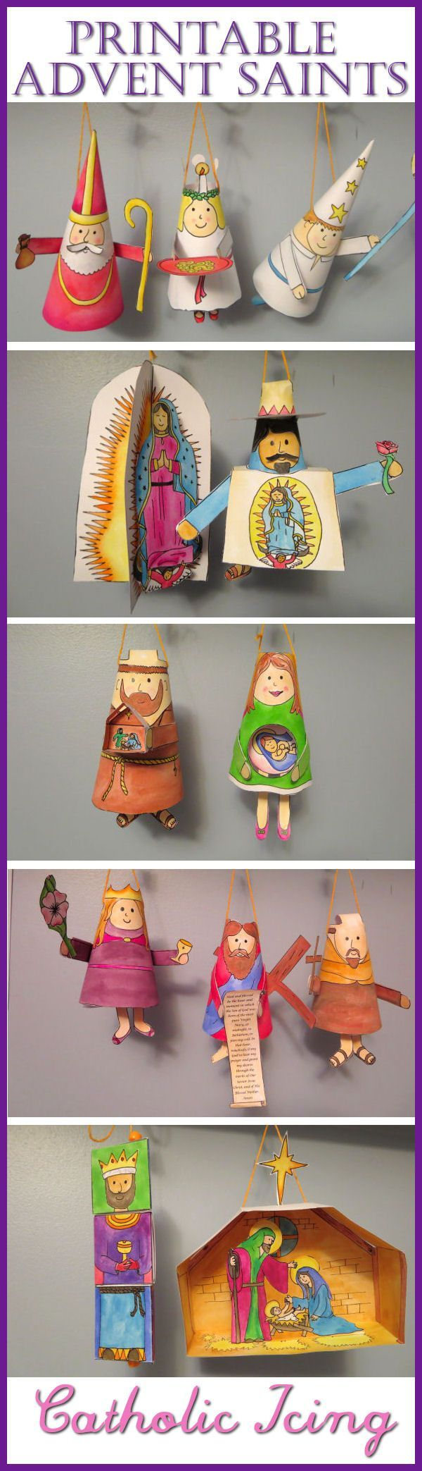 Advent Saint ornaments craft for Catholic kids- these things are so cute! (and printable!)