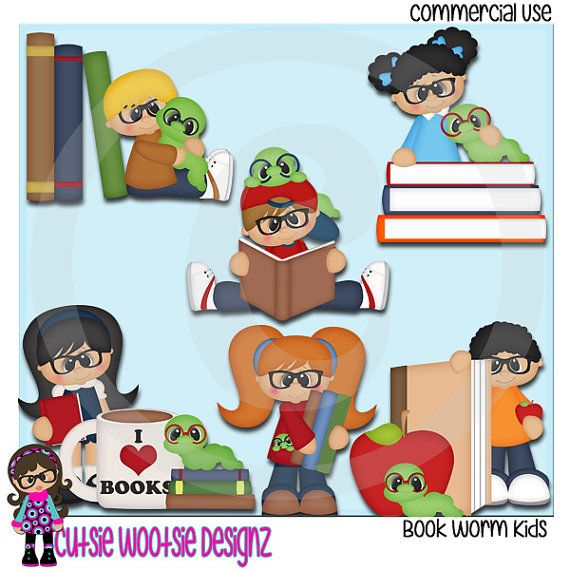 Book Worm Kids Clip art Clipart Graphics Commercial Use | Book ...
