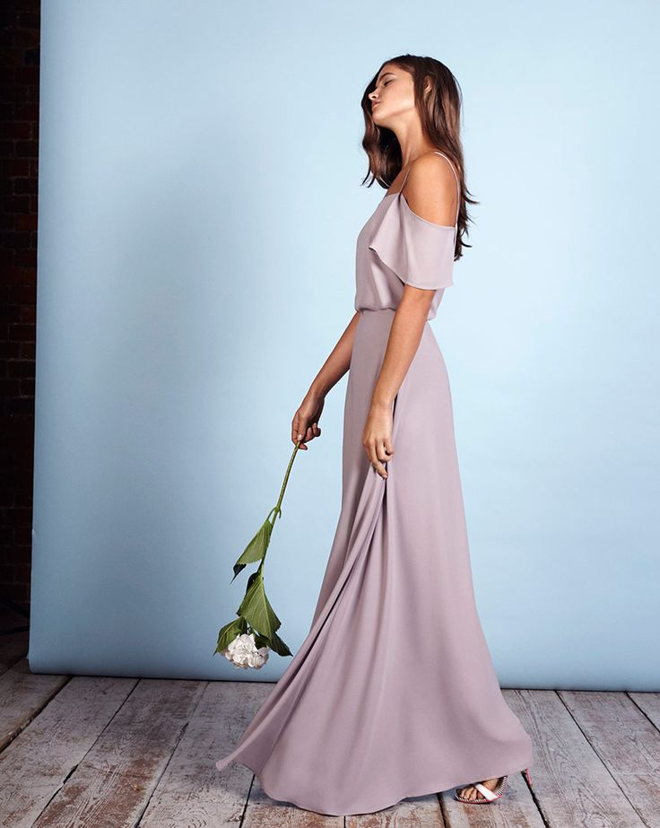 Show us some shoulder. The seriously gorgeous grey Marrakech off the shoulder top and skirt combination by Rewritten. Cool bridesmaid dresses for the modern bride