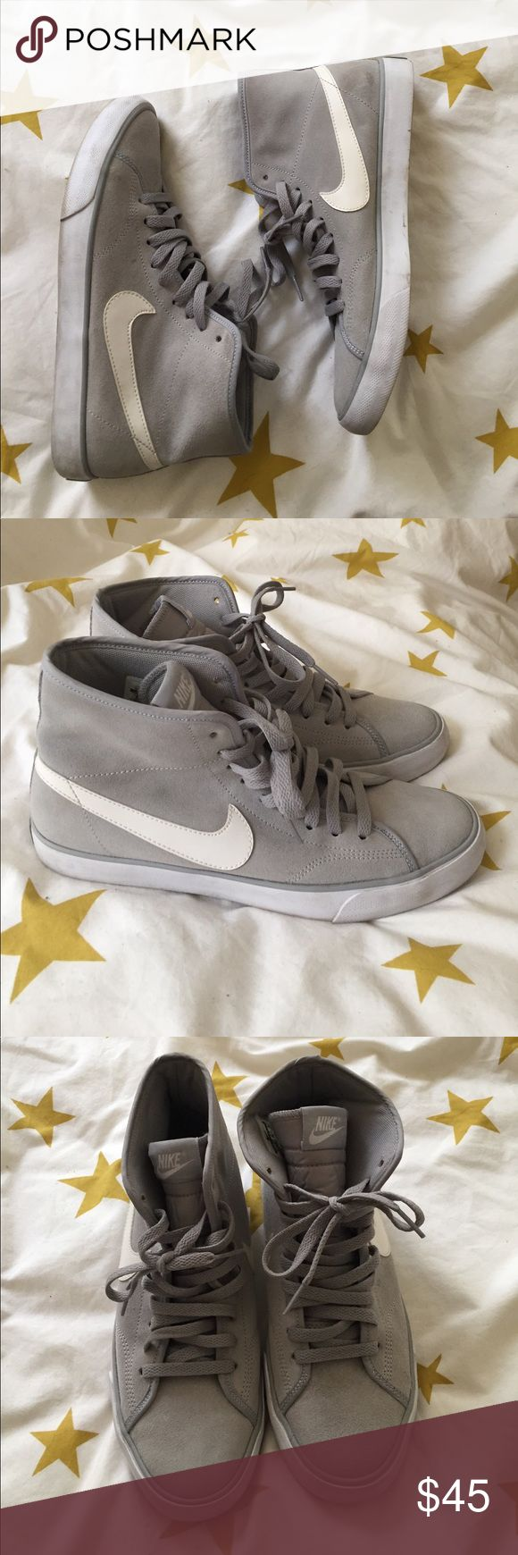 Grey Nike Primo Court Mid These are a pair of grey suede primo court mid high top sneakers. I love them but I've only worn them a few times and have not worn them in months. Comes from smoke-free pet-free home! Nike Shoes Sneakers