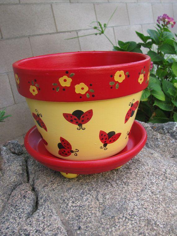 Ladybug Planter  Flower Pot by bubee on Etsy, $20.00