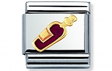 Nomination stainless steel and 18ct gold Red wine Classic Charm with Enamel