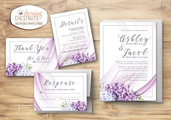 Lilac wedding invitation Set, Purple wedding, Floral invitation, Lilac and silver, Lavender Wedding invitation, Purple flower wedding
