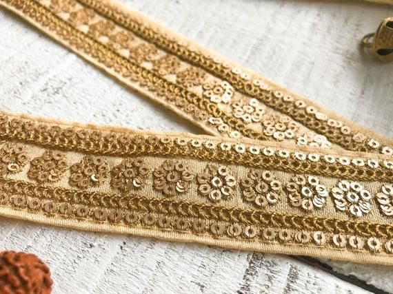 brown gold tan embroidery trimming costume ribbon festival boho applique lace