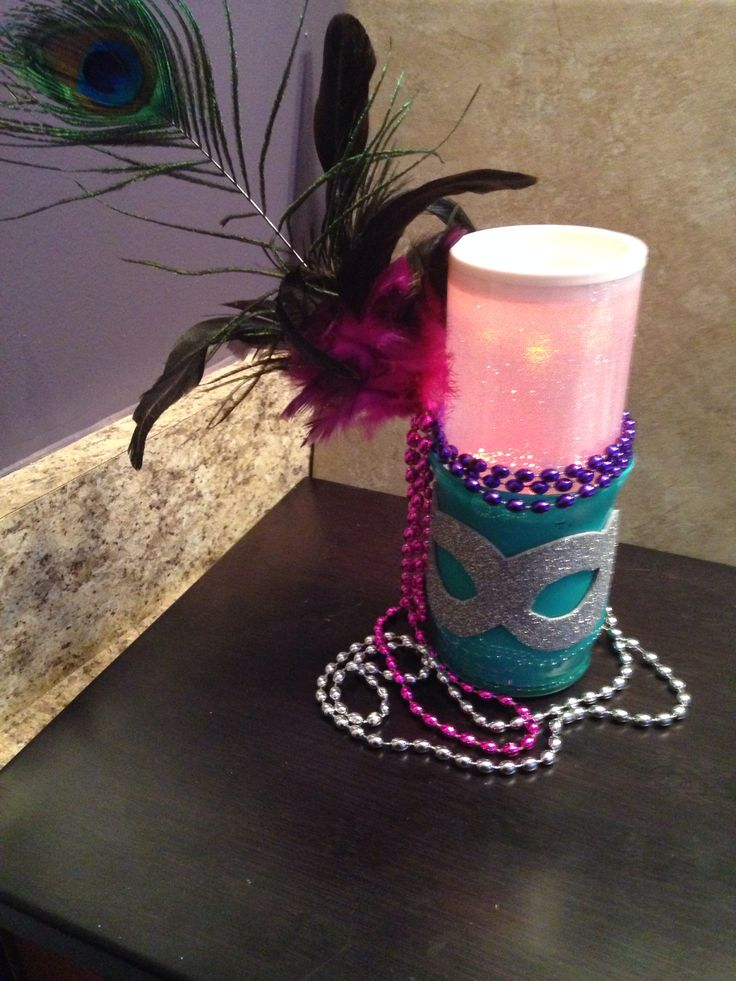 Masquerade Centerpiece With Color Changing Battery Candle