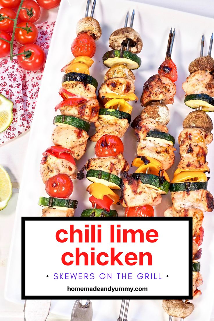 Jun 29, 2020 – Grilled Chicken Skewers with a tasty chili lime marinade. Perfect for bbq season. #homemadeandyummy #gril…