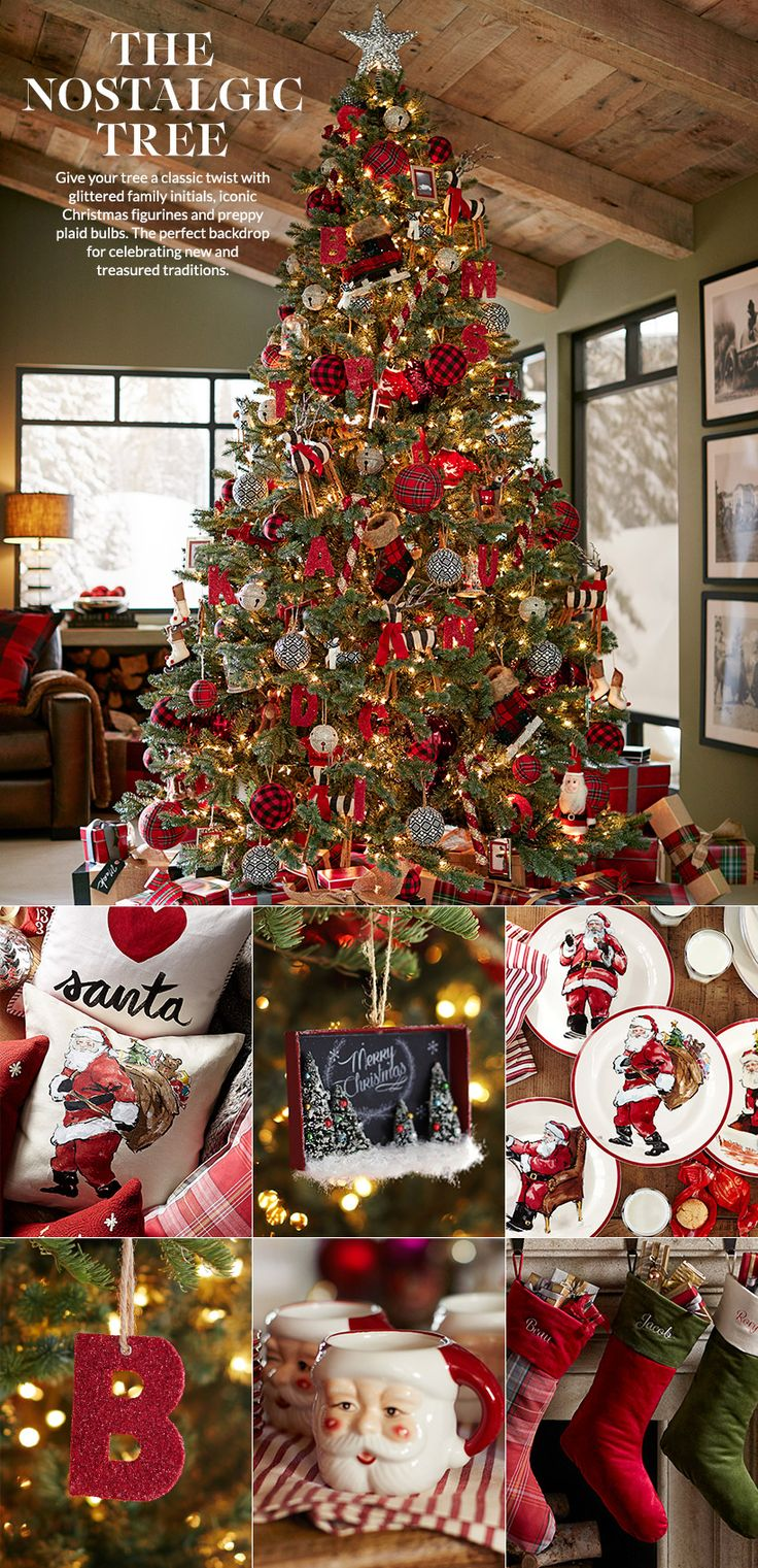 Christmas Decor. Christmas Tree Theme. Traditional. Nostalgic Theme.  Red and Black Gingham.  Pottery Barn.