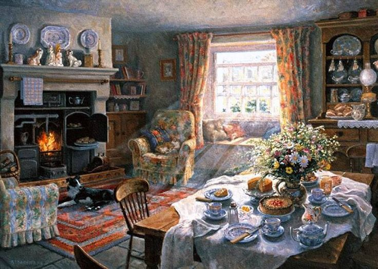 painting of English country room: Sunday Tea-Time by Stephen Darbishire.