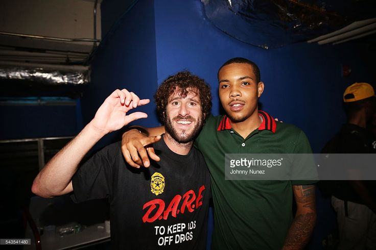 Lil Dicky and G Herbo backstage at the XXL Freshmen Live concert at PlayStation Theater on June 28, 2016 in New York City.