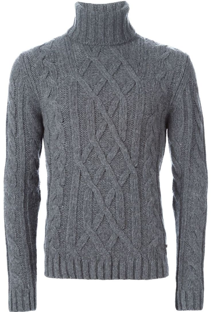Woolrich - Gray Cable Knit Turtleneck Sweater