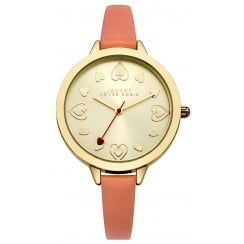 Johnny Loves Rosie Coral Strap Gold Midi Dial Watch