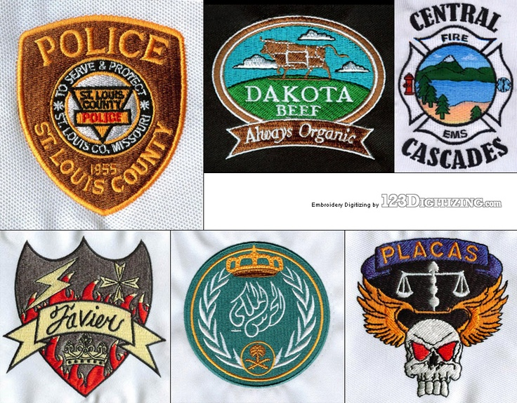 Various badge/patch designs. For a more comprehensive portfolio, please visit our gallery at: http://www.123digitizing.com/embroidery-digitizing-gallery.php