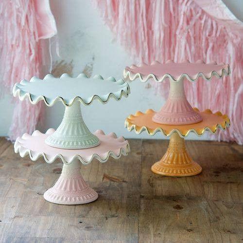 Medium Ruffled Stoneware Cake Plate, Mist available at Shop Sweet Lulu
