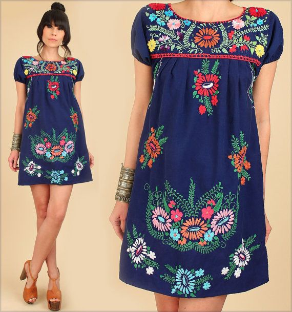 ViNtAgE 70's Mexican EMBROIDERED MiNi Dress Cotton 1970s Fashion Style Hippie Boho by hellhoundvintage