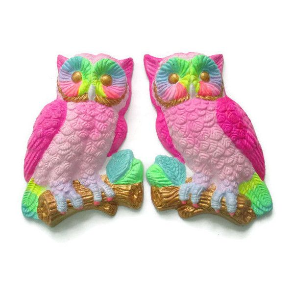 Pair of Neon Pastel Rainbow Owls Small Painted Vintage Wall Hangings... ($45) ❤ liked on Polyvore featuring home, home decor, home & living, home décor, silver, wall décor, wall hangings, vintage home accessories, silver home decor and owl home decor