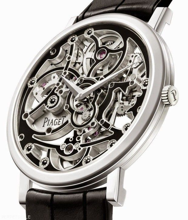 Piaget Altiplano Skeleton Enamel Cal 1200E angleview - world first skeleton enamel watch.thinnest automatic watch movement in the world.