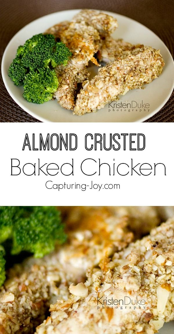 Almond Crusted Baked Chicken Recipe!  Super yummy and a meal the whole family will love! Capturing-Joy.com