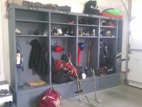 Maybe having mud room lockers in the mud room AND the garage is a good idea... the one in the garage can be for all that sports equipment, dirty cleats, etc.