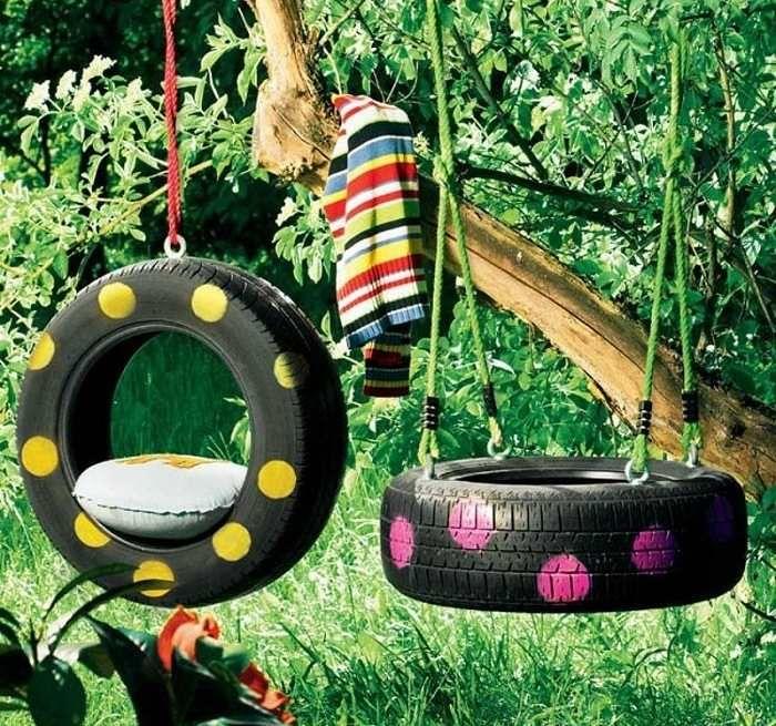 Alte Reifen werden zu neuen Schaukeln -  Idee zum Selbermachen