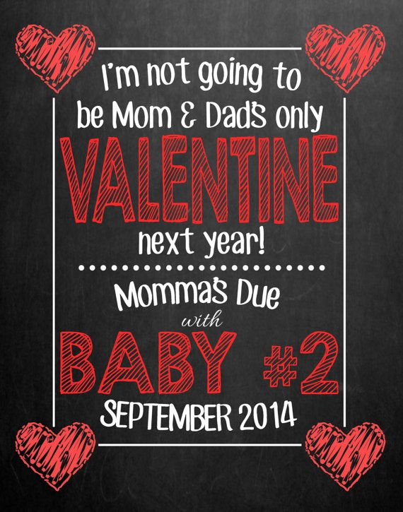 Pregnancy Announcement Chalkboard // Valentine's by MMasonDesigns, $15.00