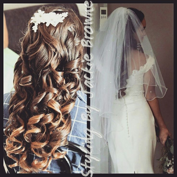 My beautiful Bride today.  Long structured curls with hair peice