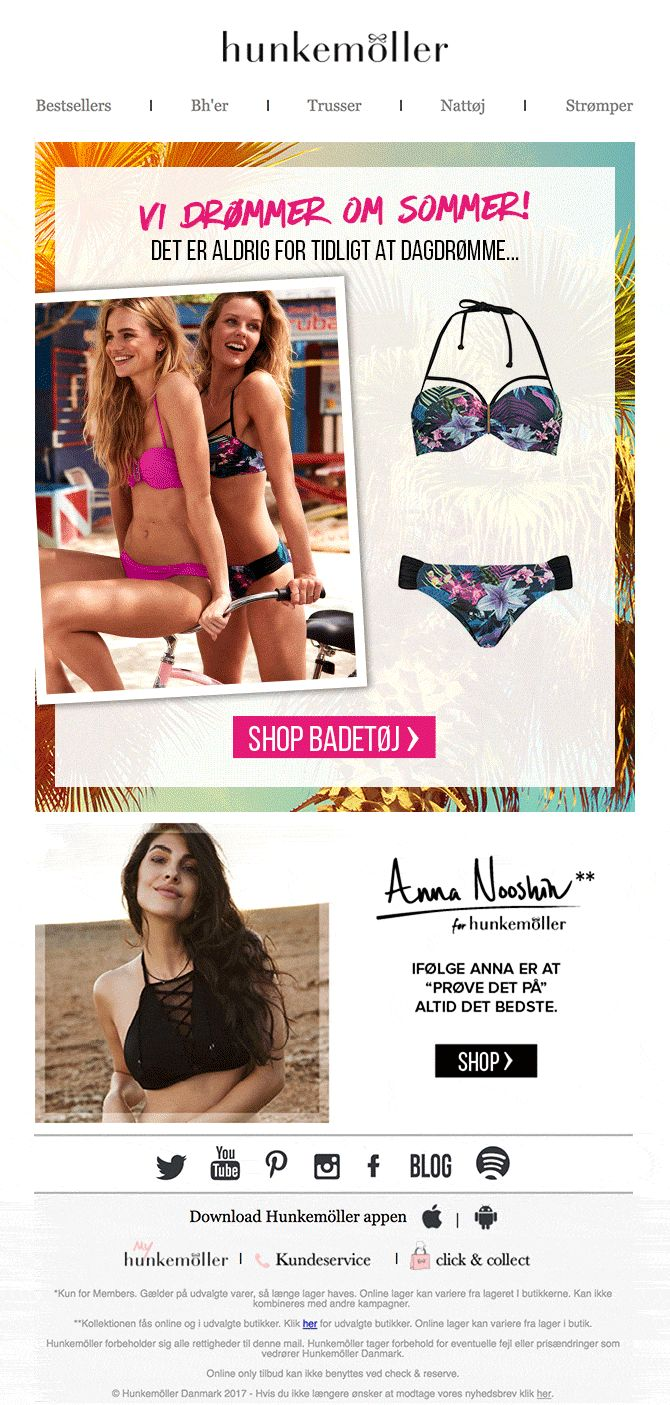 Email design I created for Hunkemoller. With a mix & match swimwear and animated GIF. Language is Danish.