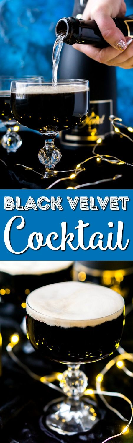 This Guinness and Champagne Black Velvet Cocktail is a deliciously easy drink made with stout and bubbly! The best quick cocktail for New Year's Eve, St. Patrick's Day, or just because! via @sugarandsoulco