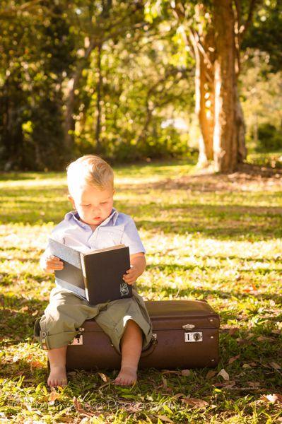 Creative Bella Photography // outdoor // natural light // sunshine coast photographer // suitcase // boy // toddler // baby // vintage // book // read