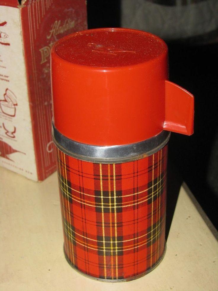 Vintage Aladdin Thermos Vacuum Bottle Red Plaid Half Pint With Box Original