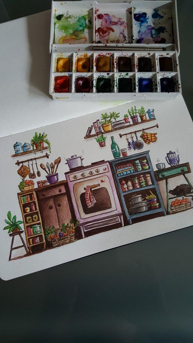 Illustration Aquarell Buntstift – Küche – Melanie…