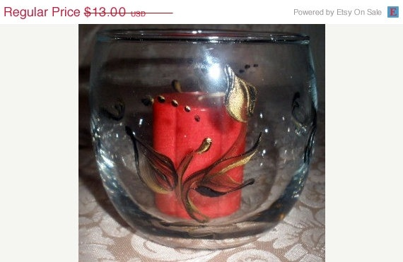 Hand Painted Glass Votive in Leafy Black by PaintedDesignsByLona, $13.00