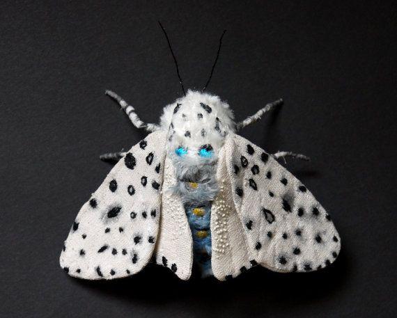 Fabric sculpture Leopard Moth textile art by irohandbags on Etsy, $65.00