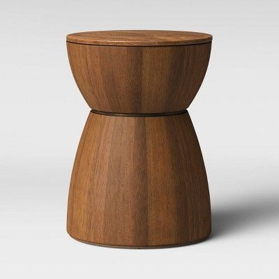 Prisma Round Natural Wood Turned Drum Accent Table Brown Project