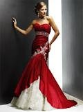 Stunning red and white floor length gown