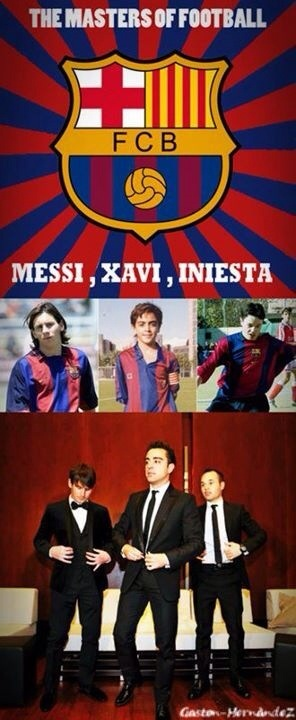 FC Barcelona's  Messi, Xavi, and Iniesta at La Masia and at the 2013 FIFA Awards