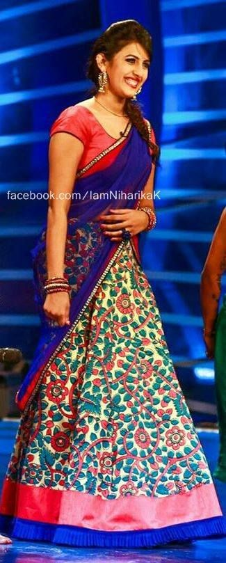 Niharika Konidela Floral Half Sari - Saree Blouse Patterns