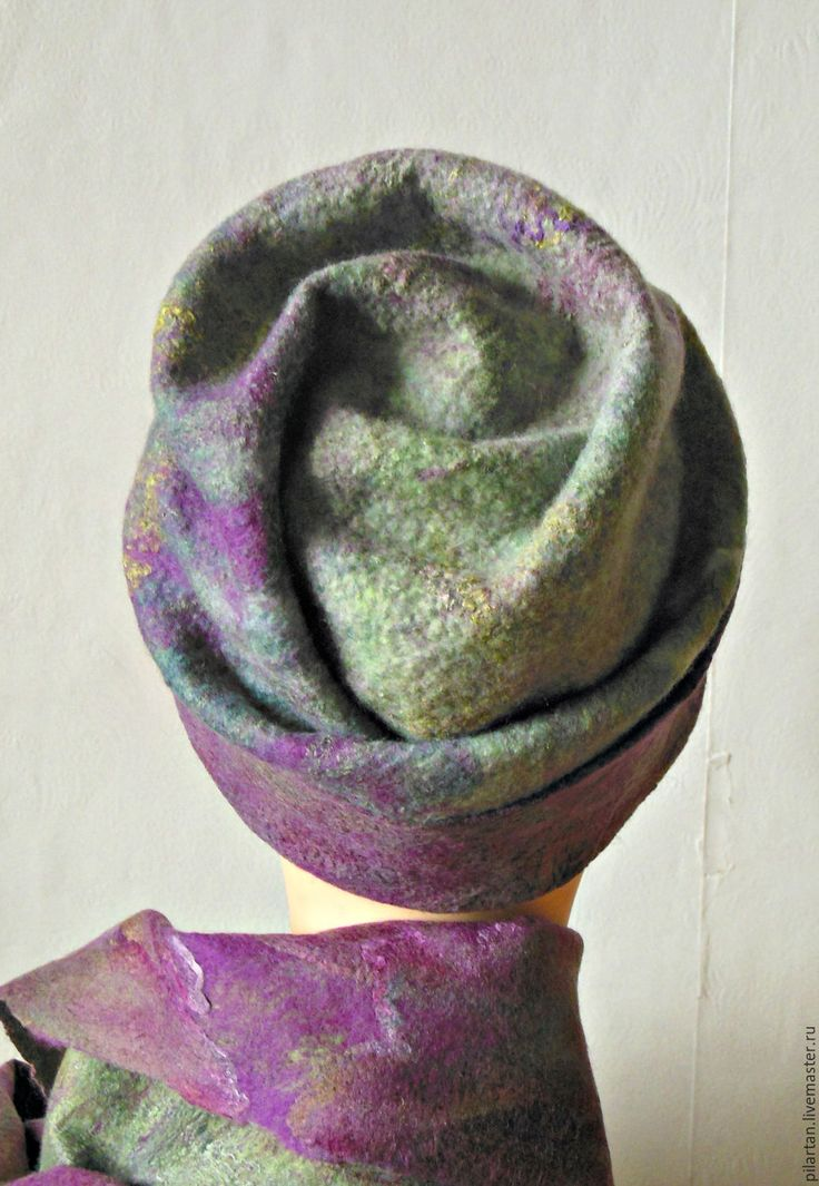Купить Шапка бини валяная зелная лиловая Колдовской лес - шапка женская, шапка валяная