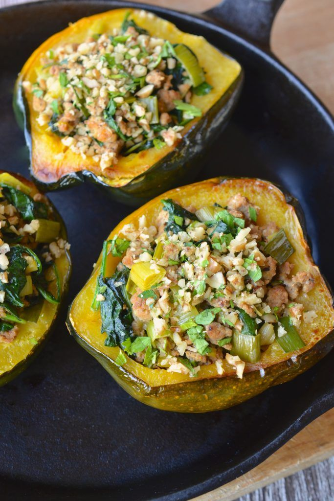 Acorn Squash Stuffed With Spinach Pork Leeks Recipe With
