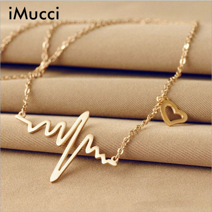 iMucci Simple Wave Heart Necklace Chic Ecg Pulse Gold Plated Charm Pendant Necklace Lightning Women Vintage Jewelry Accessories