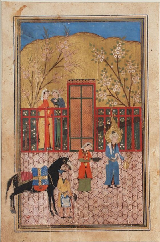 The Arrival of Yusuf in a Courtyard, Page from a Manuscript of Yusuf and Zulaykha of Jami