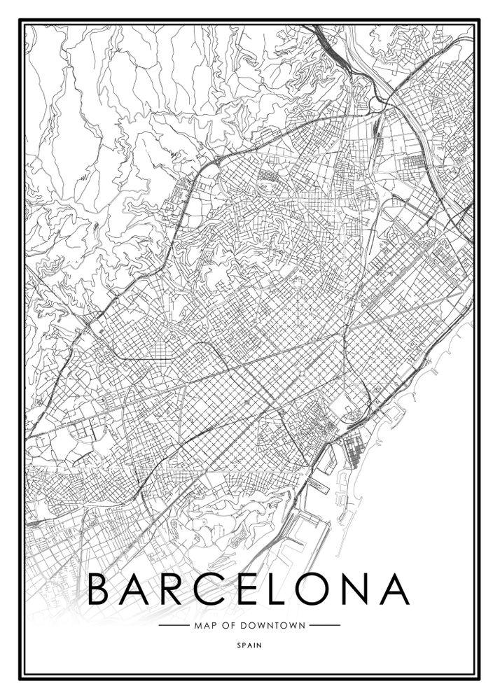 Modern Wall Art Print Barcelona Retro Map Poster