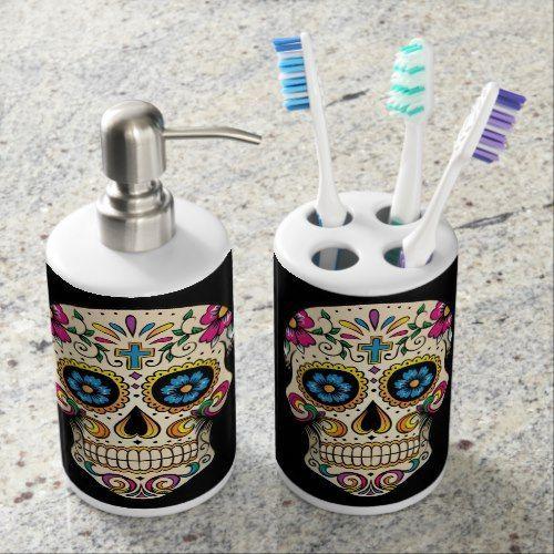 Day Of The Dead Sugar Skull With Cross Bathroom Set Zazzle Com In 2020 Sugar Skull Decor Skull Skull Bedroom