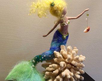 Naald vilten zeemeermin, Waldorf geïnspireerd, wol vilten pop, Fairy, Pop Art, zee zeemeermin, kinderkamer, Home decor, Gift, mobiele