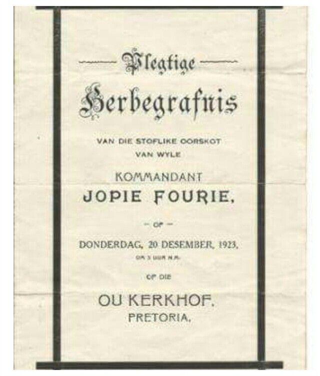 Herbegrafnis van Kommandant JOPIE FOURIE.