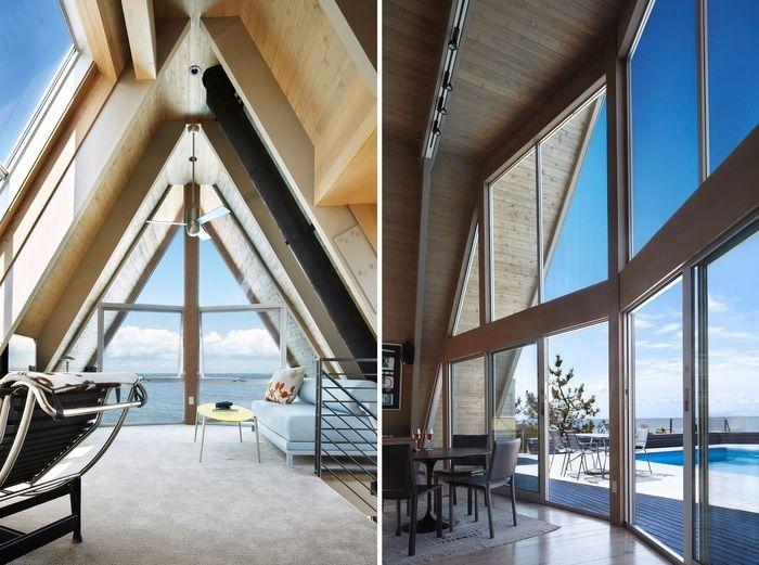 В округах Нью-Йорка, на полуострове «Fire Island», архитекторы из бюро «Bromley Caldari Architects» провели серьезную реконструкцию пригородного дома 1960-х годов постройки, использовав идею «А-образной» формы. Bromley Caldari создали А-образный дом, который влюбляет в себя с первого взгляда/Фронтальные части состоят из широких раздвижных окон, которые позволяют проникать обилию света и освещать дом. Даже в ночное время дом будет светиться за счет естественного света. На самом деле…